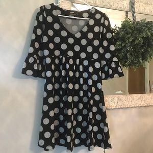 Grey and Black Polka Dot Tunic/Dress